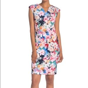 T tahari Pink cap sleeve V-Neck Floral Scuba Dress